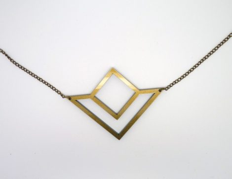 collier géométrique doré