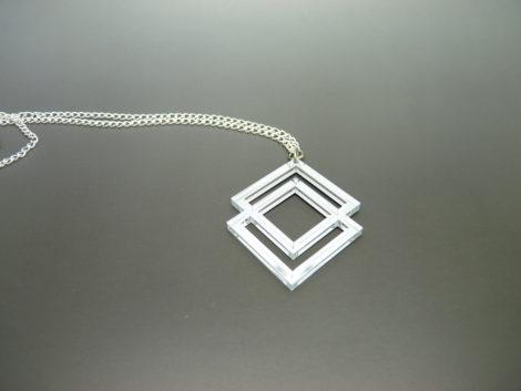 collier sautoir géométrique miroir